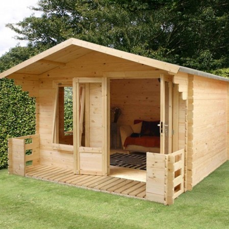 3.3m x 3.4m Studio Log Cabin With Veranda