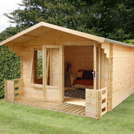 3.3m x 3.8m Studio Log Cabin With Veranda