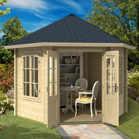 3.5m x 3.3m Hexagonal Log Cabin