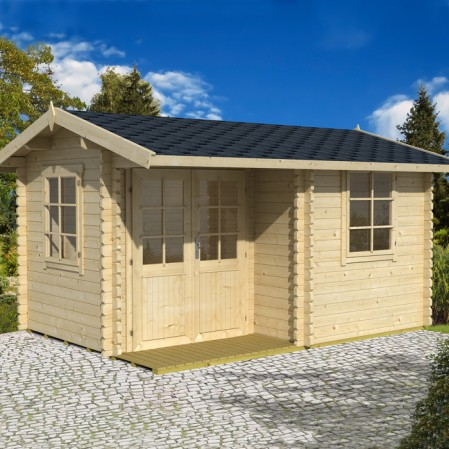 3.8m x 2.8m Premium Log Cabin With Inset Door
