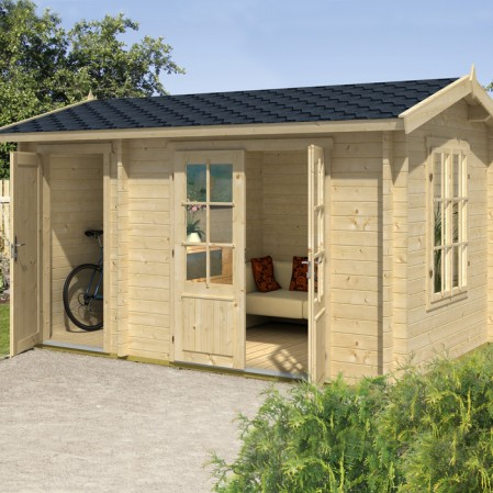 3.9m x 2.4m Premium Log Cabin With Storage Shed
