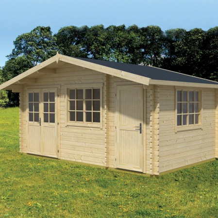 4.85m x 3m Premium Log Cabin With Storage Shed