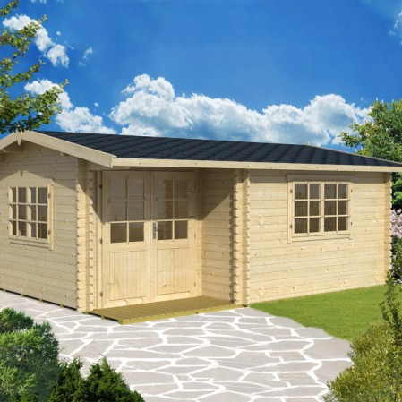 4.8m x 2.8m Premium Log Cabin With Inset Door