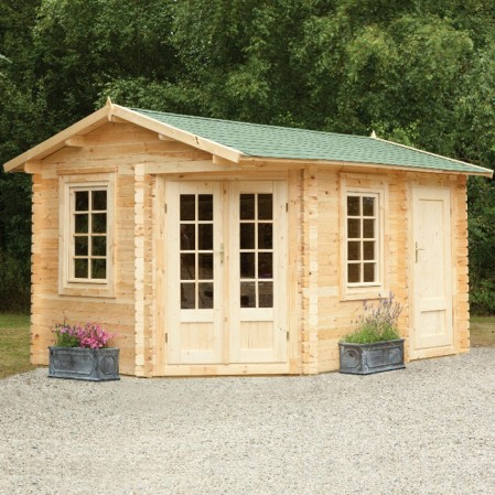 4m x 2.8m Left Sided Corner Log Cabin With Storage Shed