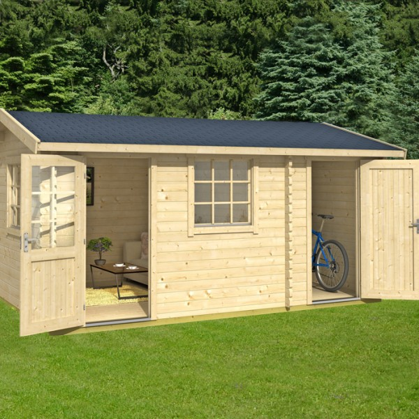 4.5m X 3m Premium Log Cabin With Storage Shed