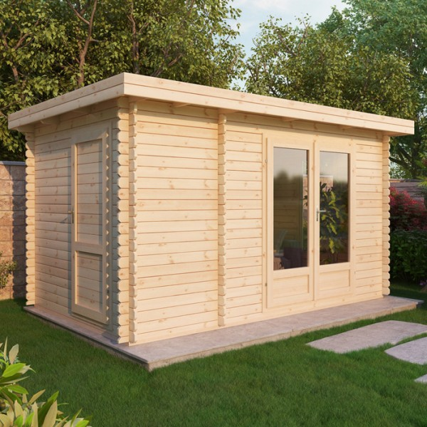 4m x 25m log cabin with storage shed