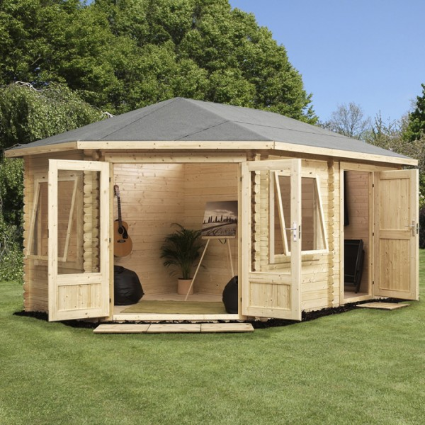 X Left Sided Corner Log Cabin With Storage Shed Cabins
