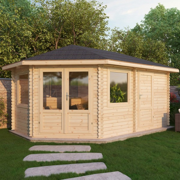 5m x 3m left sided corner log cabin with storage shed
