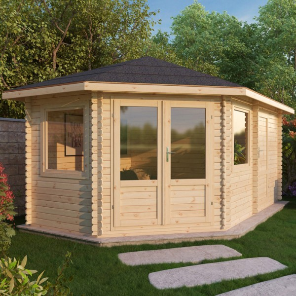 5m x 3m left sided corner log cabin with storage shed - Garden Sheds 5m X 3m