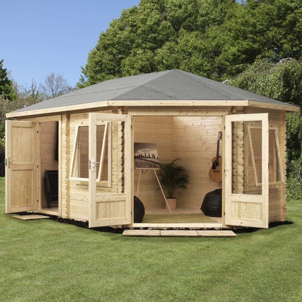 Garden Sheds 5m X 3m garden sheds 5m x 3m right sided corner log cabin with storage and