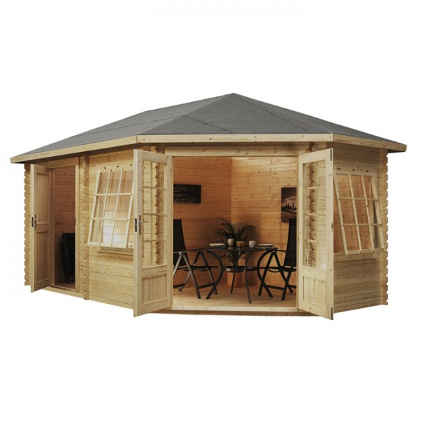 Garden Sheds 5m X 3m 5m x 3m right sided corner log cabin with storage shed - cabins